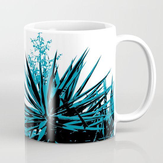 Yucca trees Mug by ARTbyJWP via redbubble #mug #coffeemug #yucca    Abstract composition of yucca tree tops.