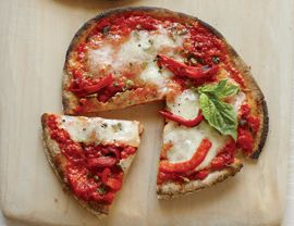 roasted red pepper pita pizza