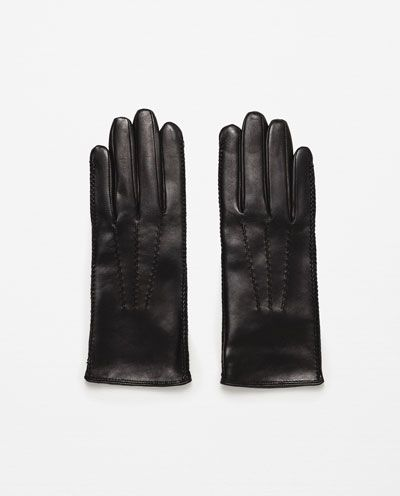 ZARA - WOMAN - TOP STITCHED LEATHER GLOVES
