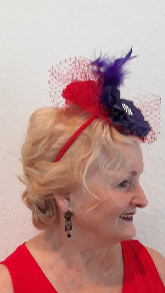 019df7b88 Red Purple Fascinator, Hat Society Fascinator, Headband Headpiece ...