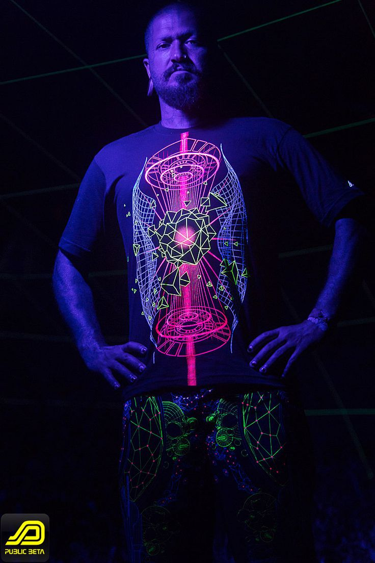 Hologram T-Shirt & Colony Boardshorts by Public Beta Wear  www.publicbetawear.com Blacklight reactive psychedelic visions printed on clothing. 3D designs. Psychoactive wear. Model: @freakgarcia, Photo by Murilo Ganesh @muriloganesh #publicbetawear #blacklightclothing #psychedelic #ozorafestival #boomfestival #festivalfashion #shopbitcoin