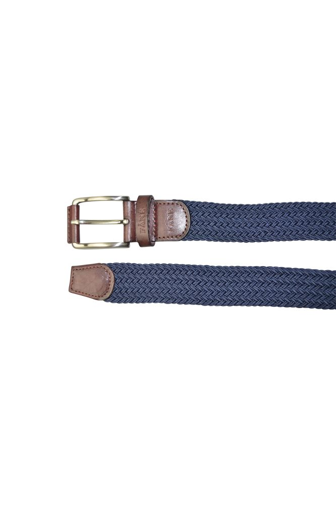 FÅNE - Woven Navy/Brown Leather Elastic Belt