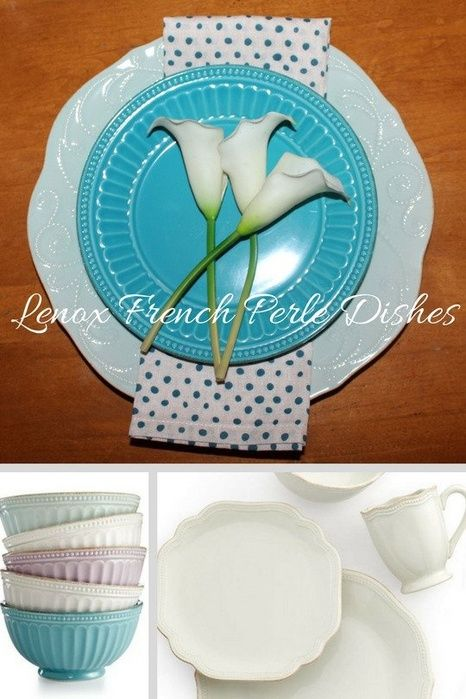 I love these dishes! They can be for everyday use or for a more elegant dinner.   Dinner Party | Lenox French Perle | In the Kitchen | Dining Room | Table Setting | Teal | Purple | White | Elegant | Formal | Casual