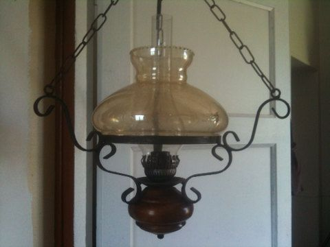 Vintage French hanging wood faux interior oil electric lamp circa 1950's Purchase in store here http://www.europeanvintageemporium.com/product/vintage-french-hanging-wood-faux-interior-oil-electric-lamp-circa-1950s/