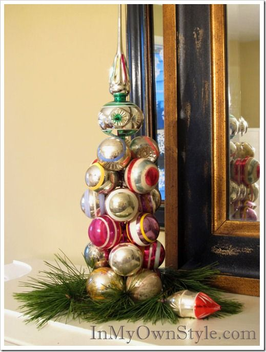 Vintage-Ornament Tree made in seconds with a knitting needle!  Your ornaments stay intact - no glue needed!