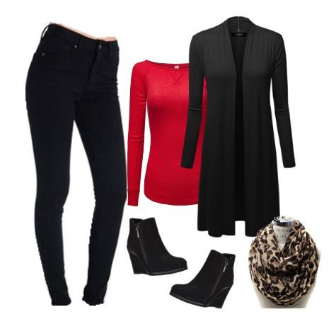 Today's outfit pairs black skinny jeans with a red long-sleeve top and long cardigan, accented with a leopard scarf and black wedge booties.