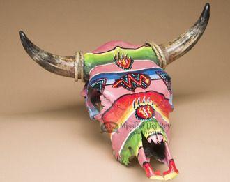 """Southwestern Painted Steer Skull 18""""""""x17"""""""" -Spirit Bear (PS98)"""