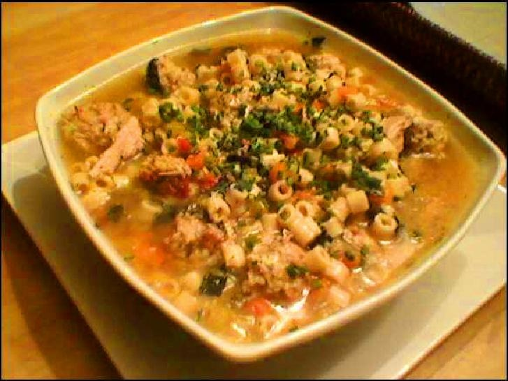 Italian Wedding Soup, w/ ground chicken & chicken sausage