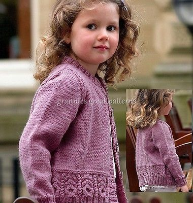 LAMINATED Knitting pattern Girls lovely Cardigan DK 3 yrs to 12 years