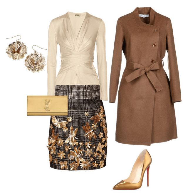 Brown Butterfly by mylittlestar on Polyvore featuring polyvore fashion style Issa Paul & Joe Emanuel Ungaro Christian Louboutin Yves Saint Laurent clothing