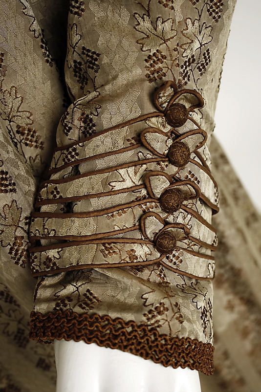 Amazing detail on cuff.  Dress Date: 1819–22 Culture: European Medium: silk Dimensions: Length: 50 in. (127 cm)