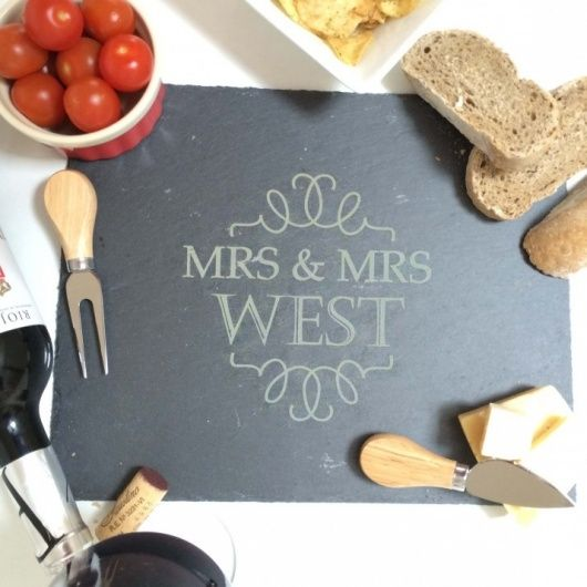 Mrs and Mrs Slate Cheese Board.  Fabulous Mrs & Mrs Cheeseboard for the newly married couple.