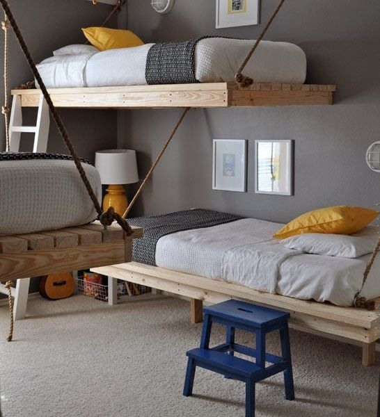Very interesting kid's bunk bed idea.  I like the bare wood base and the thick rope the upper bed is hanging on.  #coolbunkbed #bunkbedieas