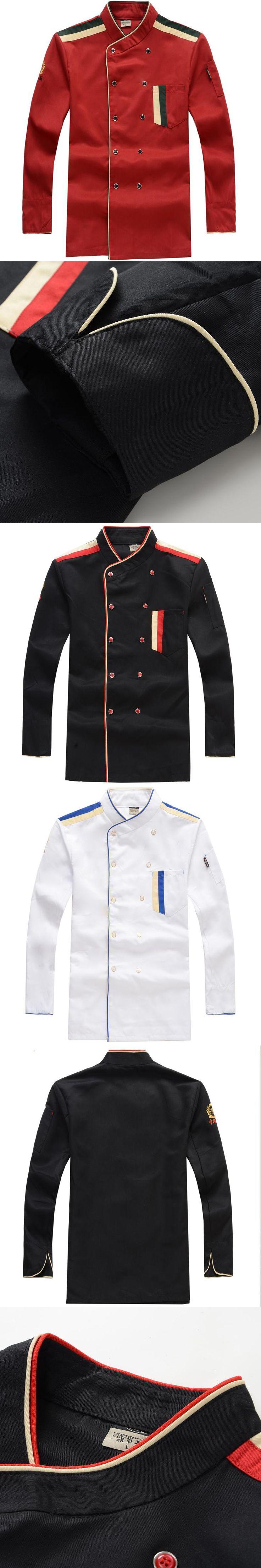 Chef's Uniform  Long Sleeve Work Wear  Western Restaurant Hotel Kitchen Uniform Hotel Chef Uniform Black/red/white