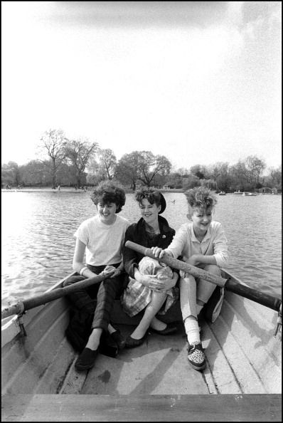 The Marine Girls, L-R Tracey Thorn, Jane Fox and Alice Fox, on Regent's Park Lake, London, 3rd April 1982. By David Corio.