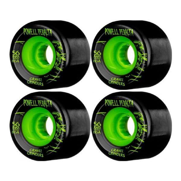 Powell Peralta Gravel Grinders Black/Green Skateboard Wheels - available now at Warehouse Skateboards! #whskate #skateboarding