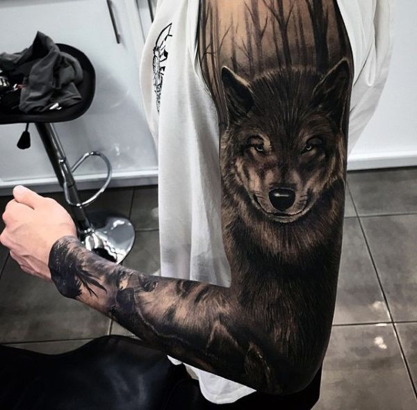 Shaded Black And Grey Ink Guys Unique Wolf Tattoo Ideas