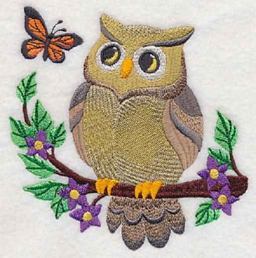 Embroidered Woodland owl quilt block, fabric,cushion panel, quilt, autumn