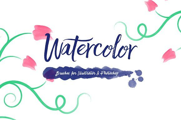 100 Watercolor Brushes by Dreamstale on @creativemarket