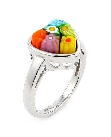 Multi Color Millefiori Heart Ring Millefiori. $37.42