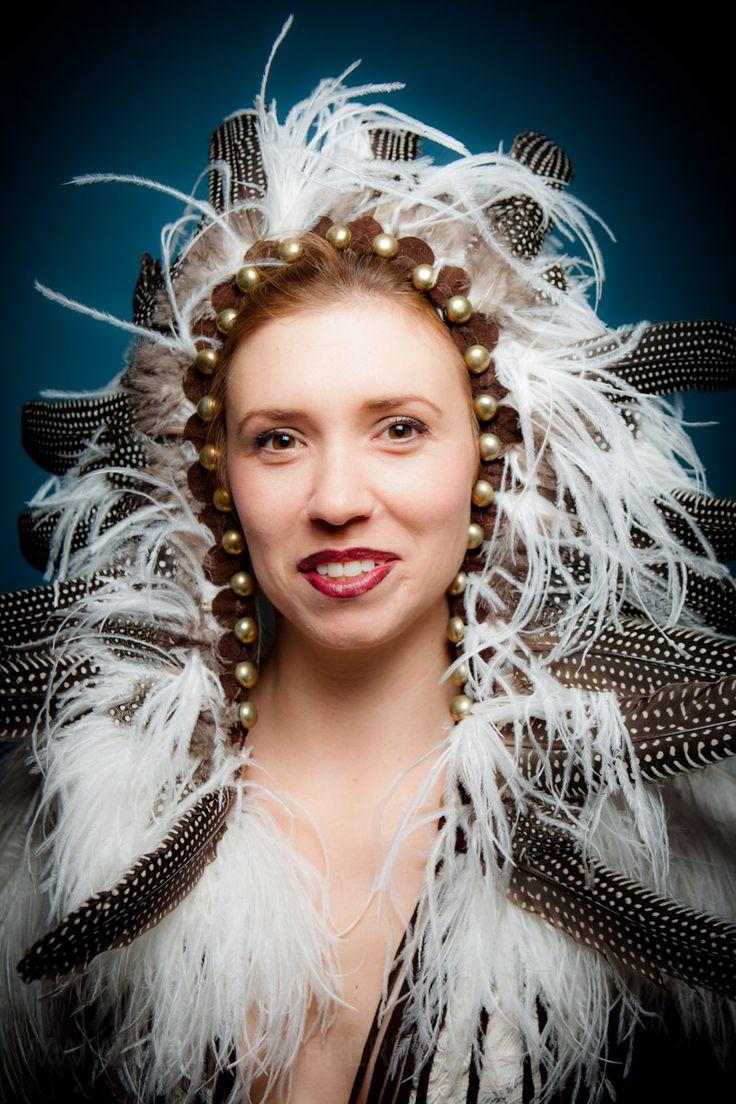 Feather headdress - Designed, made and styled by September Mcnabb.  www.septembermcnabb.com - Photographer: Felix Seuffert.