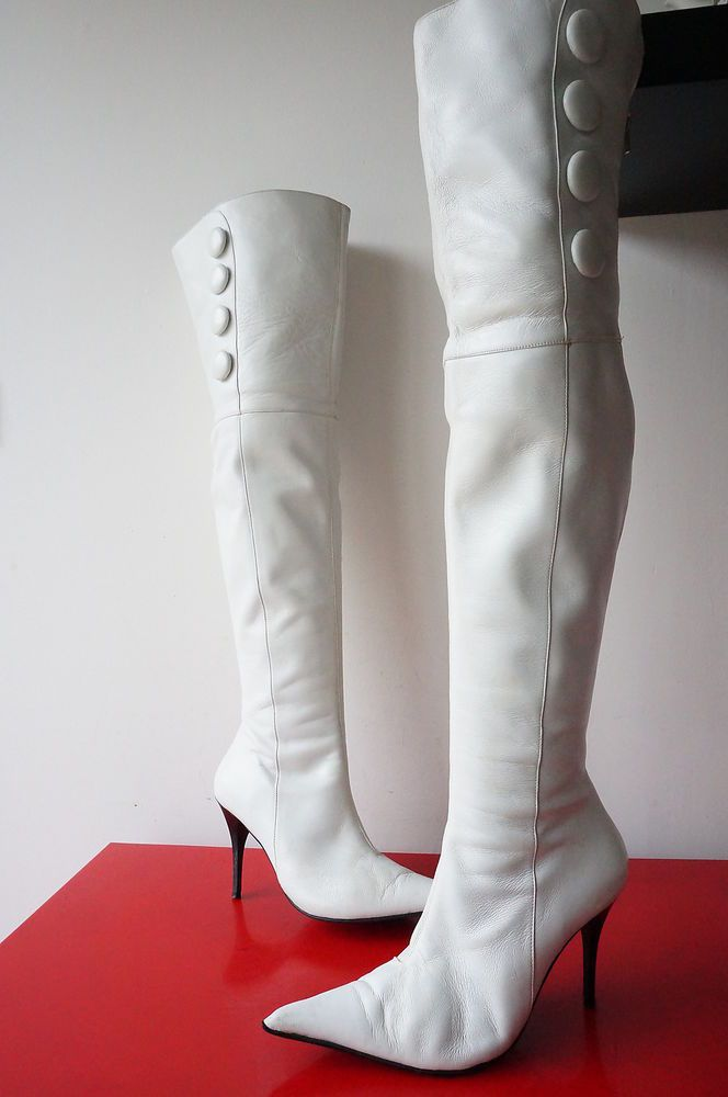 Cuissardes Cuir LEATHER bLANC Taille 38 Bottes Boots Roberto DUrville