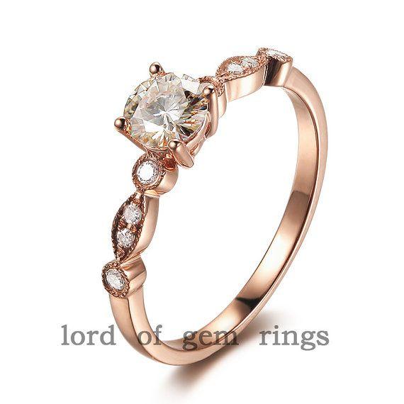 Art-Deco Diamant-Ring 14K Rotgold Runde Moissanite Ring 5.0-7.0 mm Verlobungsring, Ehering-Freundschaftsring