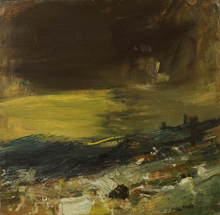 Joan Eardley The Yellow Sea, (35) The Yellow Sea Signed (verso) Oil and collage on board 17 x 17.5 ins Provenance: Roland, Browse and Delbanco, London Private Collection