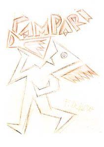 Campari, Depero. Automa che beve, matita e matite colorate su carta
