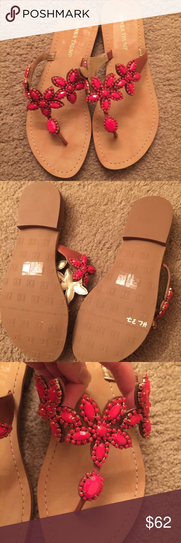 NWOT Ivanka Trump jeweled coral flip flip Flower coral beading on this camel flip flop. Slight heel for support. Never worn!!! Ivanka Trump Shoes Sandals