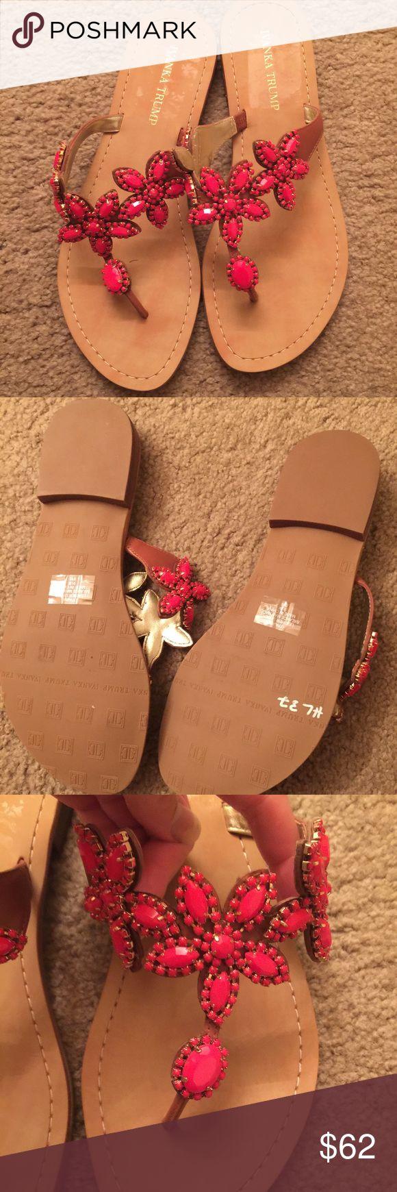 NWOT Ivanka Trump jeweled coral flip flip Flower coral beading on this camel flip flop. Slight heel for support. Never worn!!! Ivanka Trump Shoes Sandals