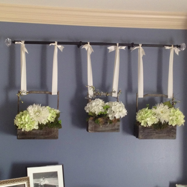 Hanging Baskets On Curtain Rod For The Home Pinterest