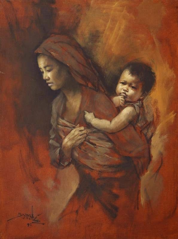 """""""A Mother and A Child"""", a painting made by Basuki Abdullah in 1992. It shows the struggles done by a mother for her child."""