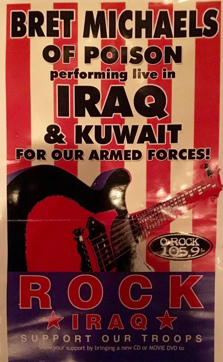 Check out today's BretMichaels.com Featured Photo Of The Day! From when Bret traveled to #Iraq / #Kuwait to perform for the brave men and women of our nation's #armedforces. - Team Bret #military Operation Homefront #ShareThis #TagTwoFriends #Heroes #Hero #BretMoji  http://bretmichaels.com/site-news/news2/bretmichaels-com-featured-photo-team-bret-military-armedforces-iraq/