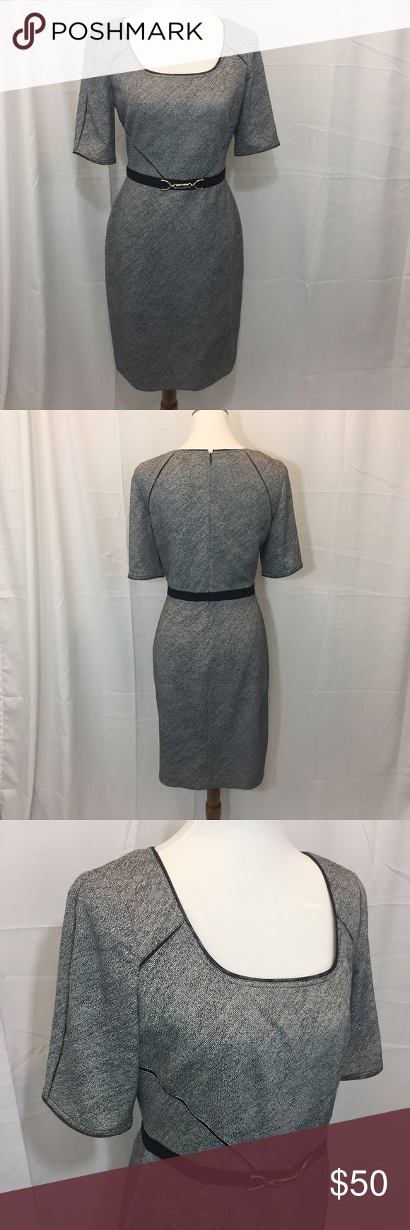 Kay Unger, grey and black dress Perfect condition, worn twice, lined, knee length, great work dress. Kay Unger Dresses