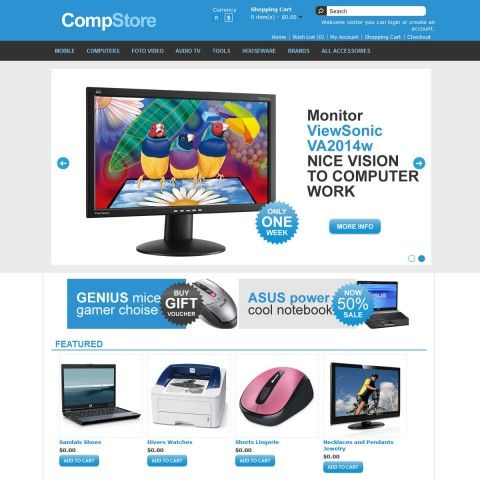 Comp Store OpenCart Template is specially designed for electronics, computers, mobile stores. Garmonical colors combination of cyan and black with white background of central content and black footer. There are the best decorate for Laptops & Notebooks, Servers, Monitors, Projectors & Screens,