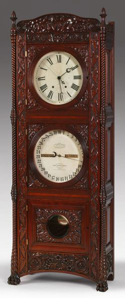 Tall Case Clock; New York, Ithaca, Floor Calendar, for Cornell, Cherry, Carved Crest, 62 inch.