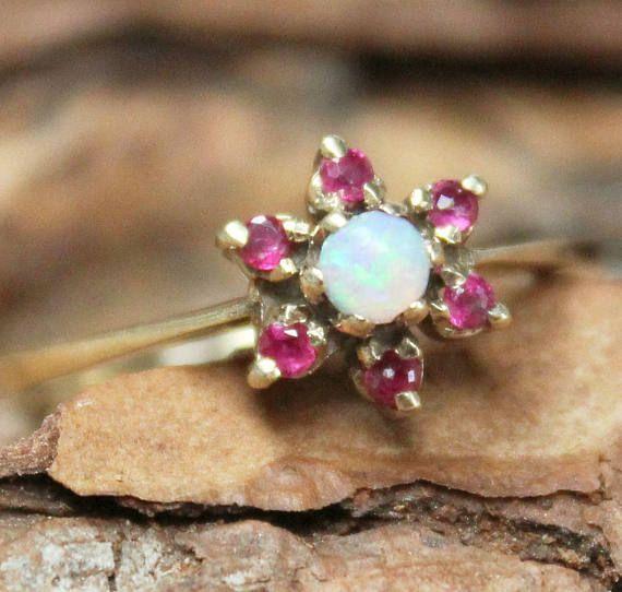 9ct Gold Ring Ruby Opal Jewellery Jewelry Ladies 9K 9 Carat
