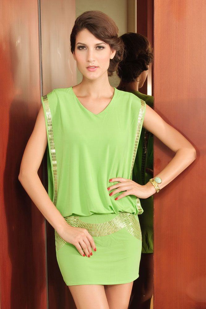 Fancy Dress with Rivet Embellishment Green