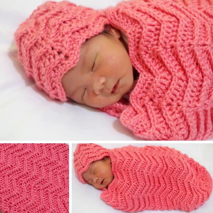 This is a free crochet pattern for Ylah Baby Cocoon in chevron design with photo tutorial in each step.