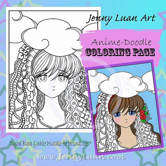 Rain Sad Crying Face Anime Manga Zendoodle Tangle by JennyLuanArt