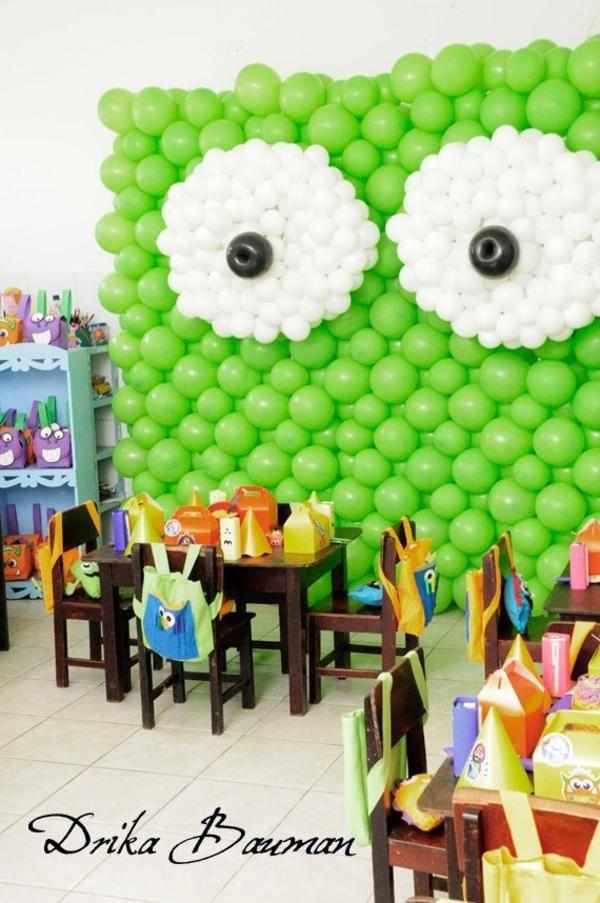 CUTE monster party BACKDROP made out of balloons! Party via Kara's Party Ideas KarasPartyIdeas.com #monster #party #ideas