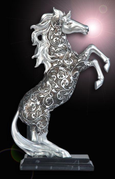 Silver Engraved Horse Standing Statue: SS-G-11679 #StealStreet. Equestrian, Pony, Stallion, Horseback, Farm, Baroque, Swirled, Pattern, Home Decor.