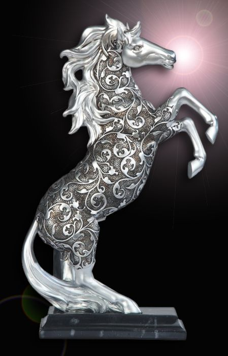 Silver Engraved Horse Standing Statue: SS-G-11679 #StealStreet. Equestrian, Pony, Stallion, Horseback, Farm, Baroque, Swirled, Pattern, Home Decor.
