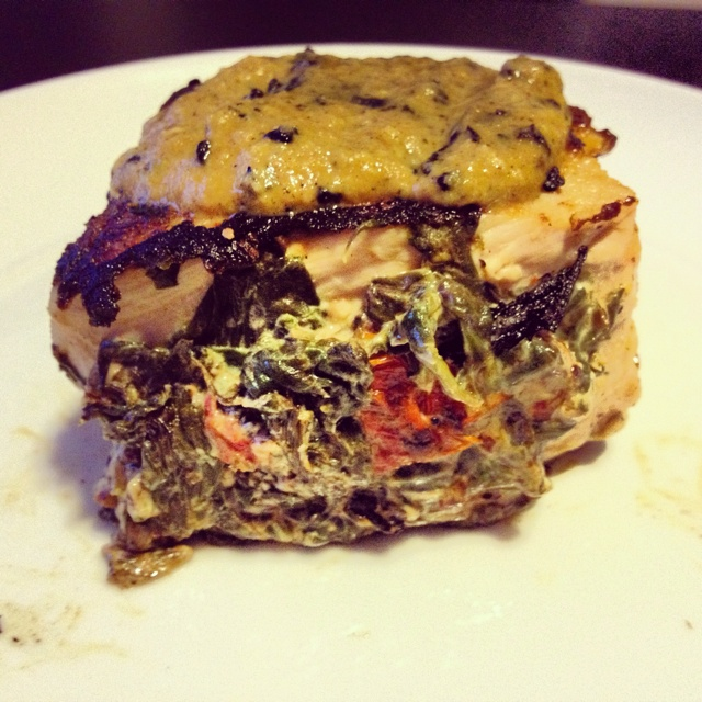 : pork chop stuffed with spinach, sun-dried tomatoes, and goat cheese ...