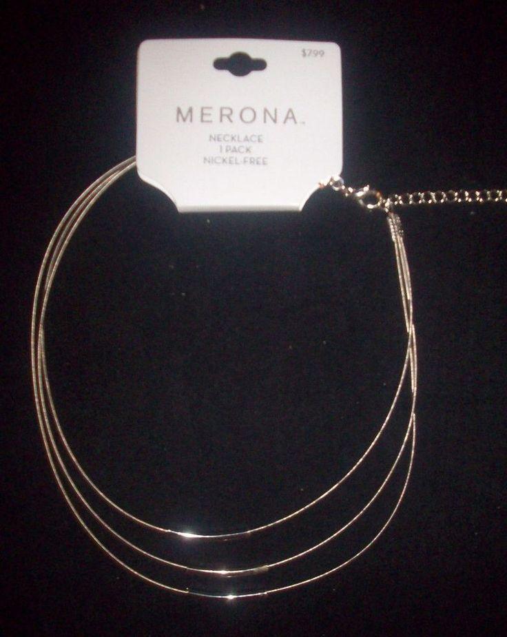 New Merona adjustible 13 inch choker silver white 3 multi tiered necklace NR #Merona #Choker