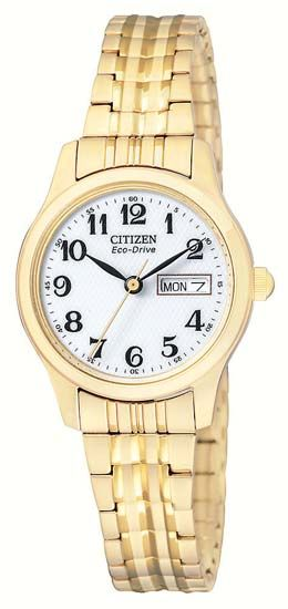 Citizen - Ladies Eco-Drive Gold Plated Expansion Bracelet - EW3152-95A - RRP: £110.00 - Online Price: £85.00
