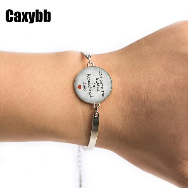 Gaxybb The cure for Autism is unconditional Love Glass Dome Lace Charm High Quality Bracelet free delivery B-G102