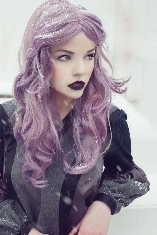 Purple HairPurple Hair, Hair Colors, Violets Hair, Makeup, Purplehair, Dark Lips, Lilac Hair, Lavender Hair, Snow Queens