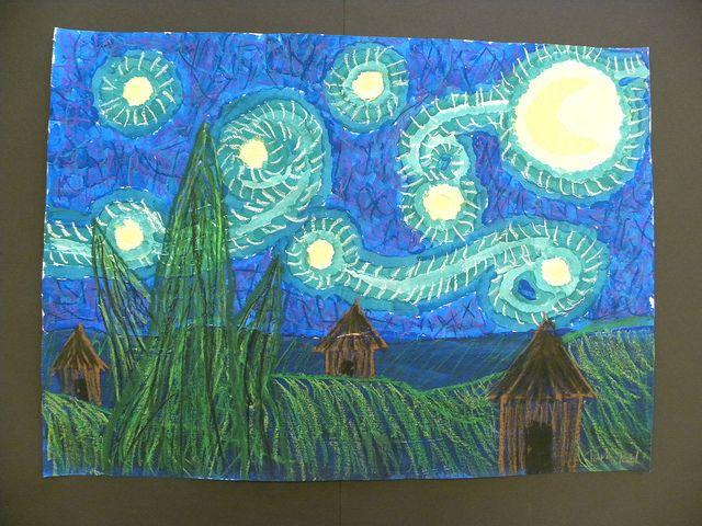4th Grade Vangogh Starry Night 4th Grade Art Art Classroom